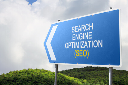 Search Engine Optimization (SEO). Blue traffic sign.